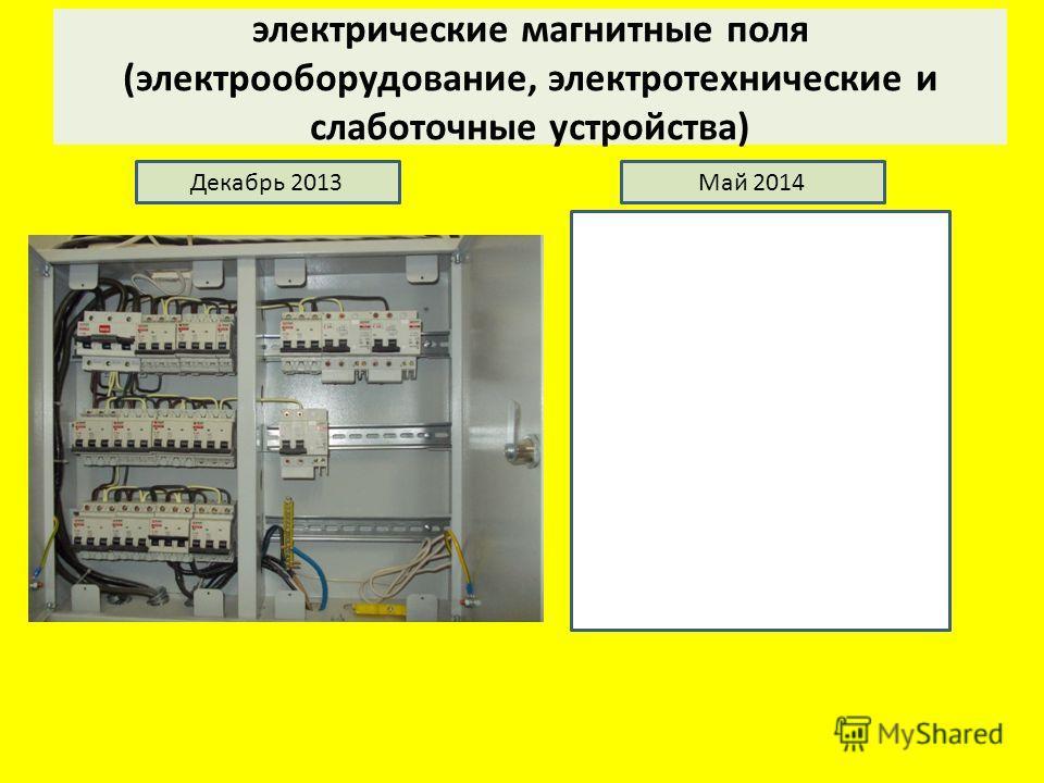 электрические магнитные поля (электрооборудование, электротехнические и слаботочные устройства) Декабрь 2013Май 2014