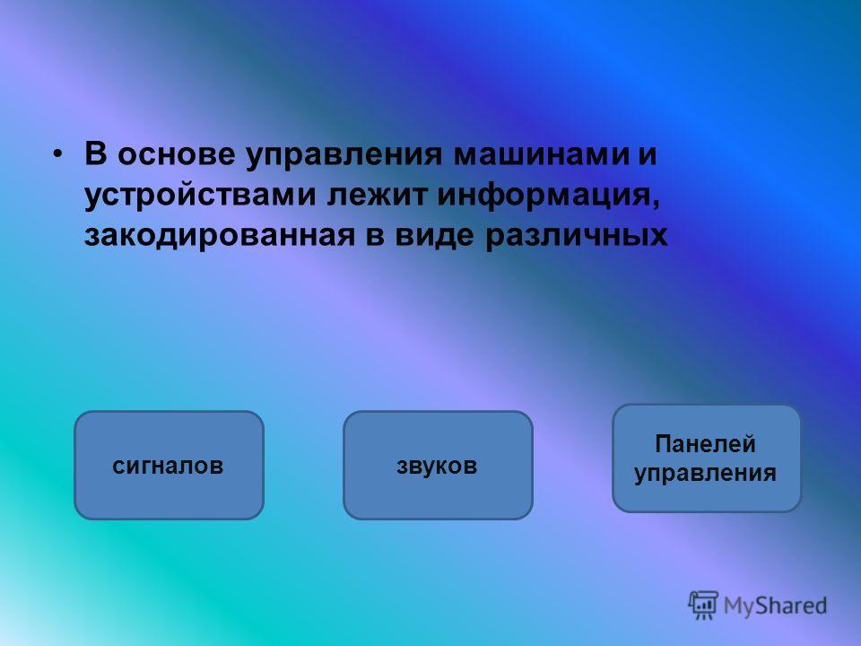 В основе управления машинами и устройствами лежит информация, закодированная в виде различных сигналовзвуков Панелей управления