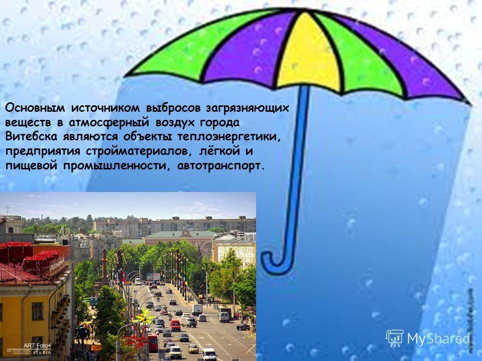 Основным источником выбросов загрязняющих веществ в атмосферный воздух города Витебска являются объекты теплоэнергетики, предприятия стройматериалов, лёгкой и пищевой промышленности, автотранспорт.