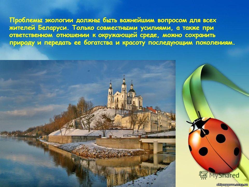Проблемы экологии должны быть важнейшим вопросом для всех жителей Беларуси. Только совместными усилиями, а также при ответственном отношении к окружающей среде, можно сохранить природу и передать ее богатства и красоту последующим поколениям.