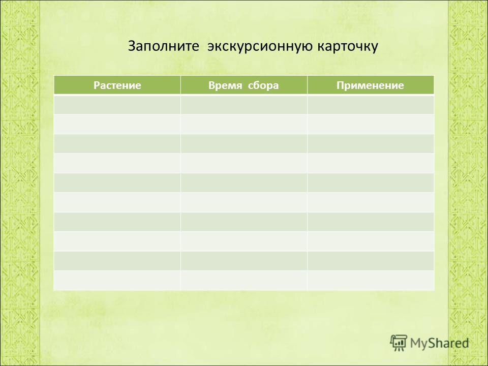 Заполните экскурсионную карточку РастениеВремя сбораПрименение