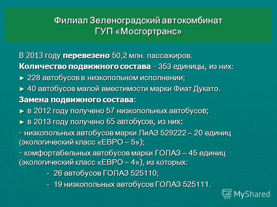 Филиал Зеленоградский автокомбинат ГУП «Мосгортранс» В 2013 году перевезено 50,2 млн. пассажиров. Количество подвижного состава - 353 единицы, и з них: 228 автобусов в низкопольном исполнении; 228 автобусов в низкопольном исполнении; 40 автобусов мал