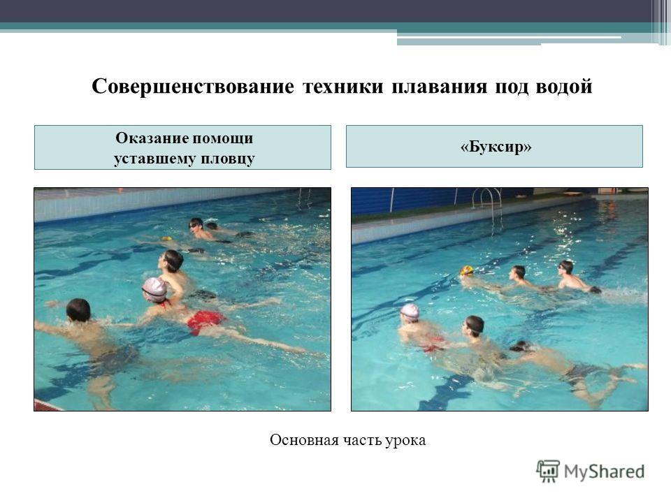 Совершенствование техники плавания под водой Оказание помощи уставшему пловцу «Буксир» Основная часть урока