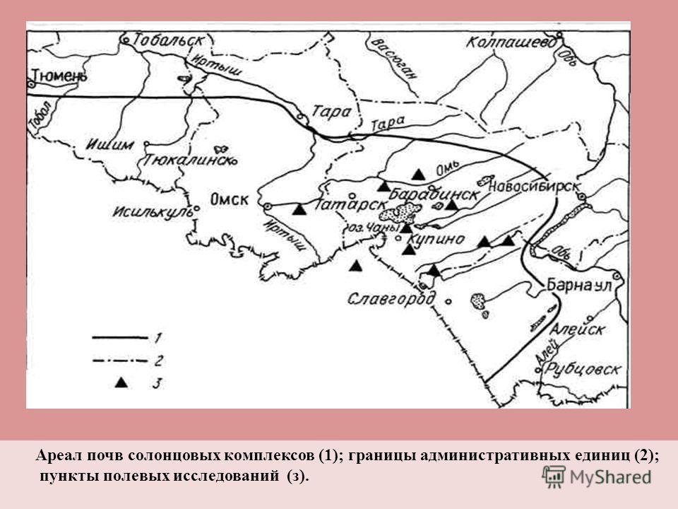 Ареал почв солонцовых комплексов (1); границы административных единиц (2); пункты полевых исследований (з).