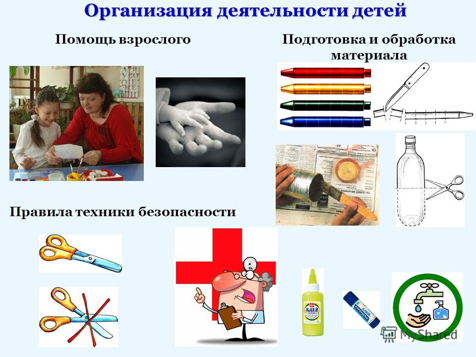 Организация деятельности детей Помощь взрослого Правила техники безопасности Подготовка и обработка материала