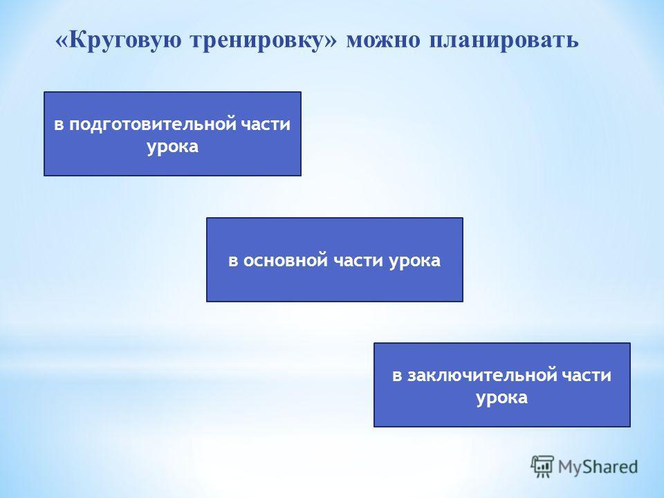 «Круговую тренировку» можно планировать в основной части урока в заключительной части урока в подготовительной части урока