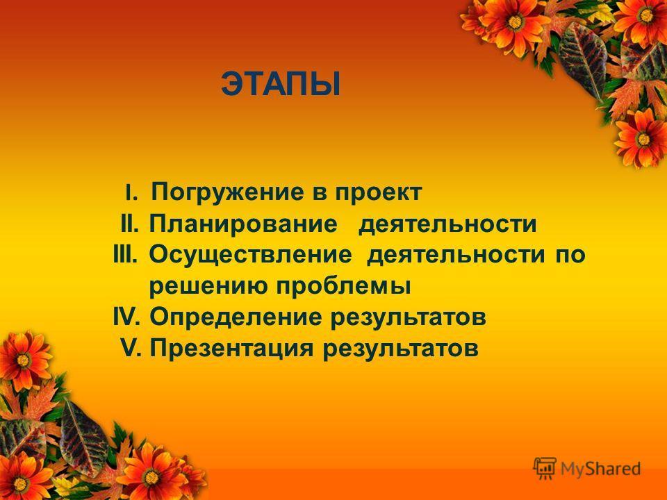 ЭТАПЫ I. Погружение в проект II. Планирование деятельности III. Осуществление деятельности по решению проблемы IV. Определение результатов V. Презентация результатов