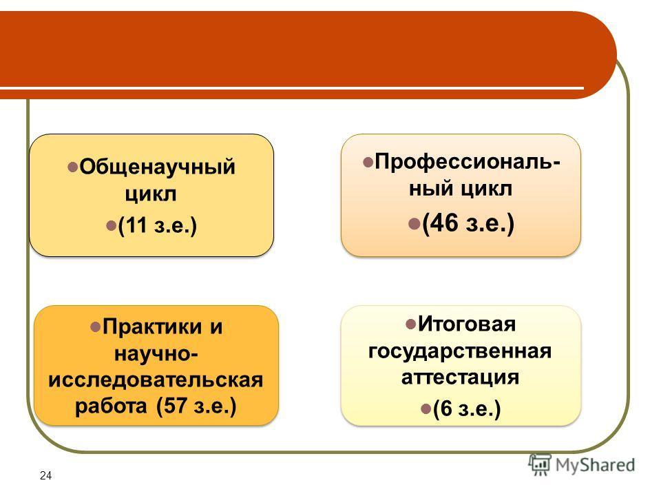 24 Общенаучный цикл (11 з.е.) Общенаучный цикл (11 з.е.) Профессиональ- ный цикл (46 з.е.) Профессиональ- ный цикл (46 з.е.) Практики и научно- исследовательская работа (57 з.е.) Итоговая государственная аттестация (6 з.е.) Итоговая государственная а