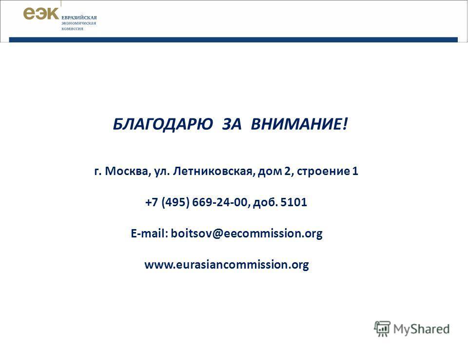 БЛАГОДАРЮ ЗА ВНИМАНИЕ! г. Москва, ул. Летниковская, дом 2, строение 1 +7 (495) 669-24-00, доб. 5101 E-mail: boitsov@eecommission.org www.eurasiancommission.org