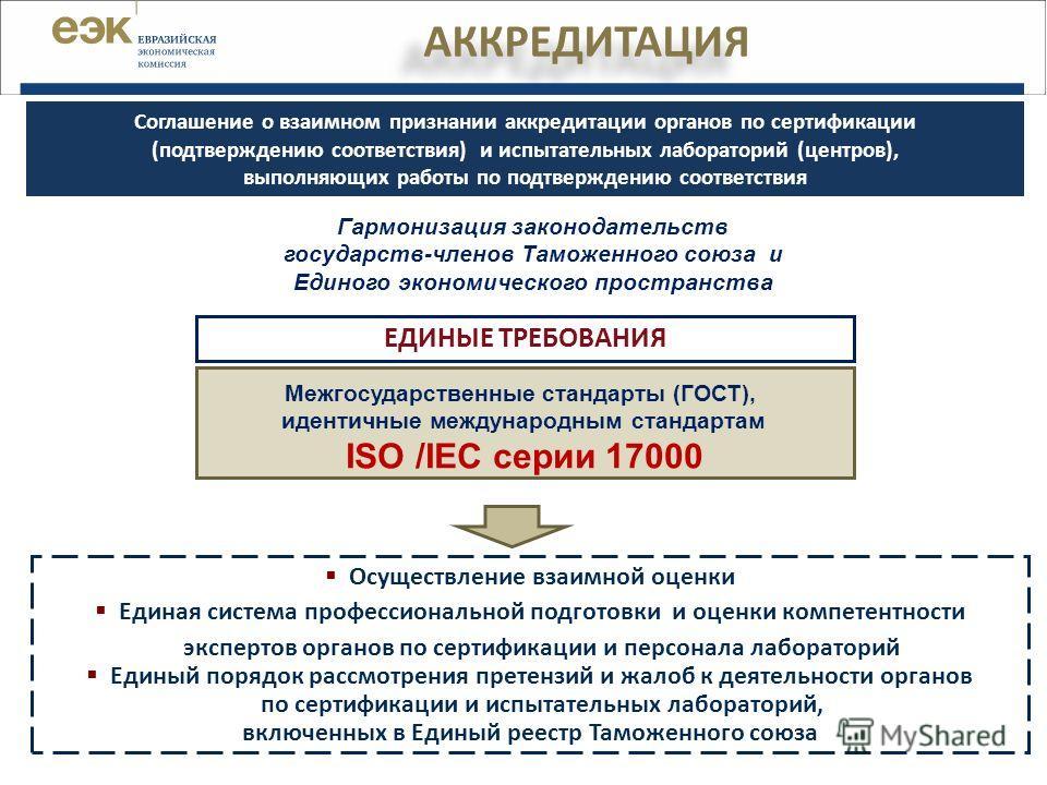 АККРЕДИТАЦИЯ Межгосударственные стандарты (ГОСТ), идентичные международным стандартам ISO /IEC серии 17000 ЕДИНЫЕ ТРЕБОВАНИЯ Осуществление взаимной оценки Единая система профессиональной подготовки и оценки компетентности экспертов органов по сертифи