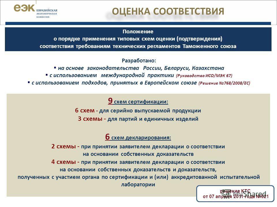 9 схем сертификации: 6 схем - для серийно выпускаемой продукции 3 схемы - для партий и единичных изделий 6 схем декларирования: 2 схемы - при принятии заявителем декларации о соответствии на основании собственных доказательств 4 схемы - при принятии