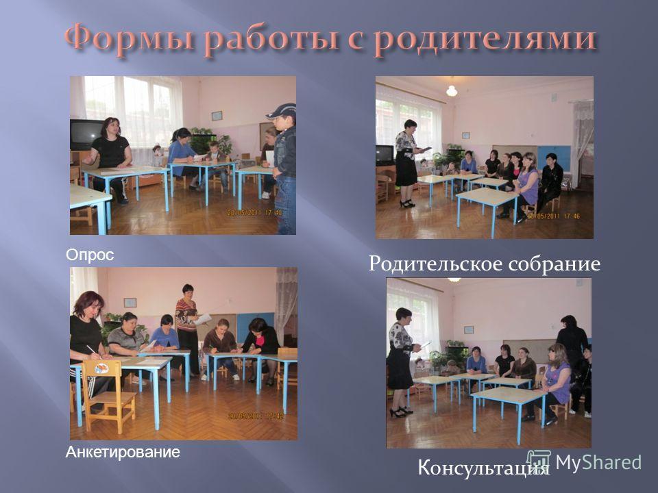 Родительское собрание К онсультация Опрос Анкетирование