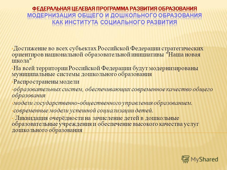 Достижение во всех субъектах Российской Федерации стратегических ориентиров национальной образовательной инициативы