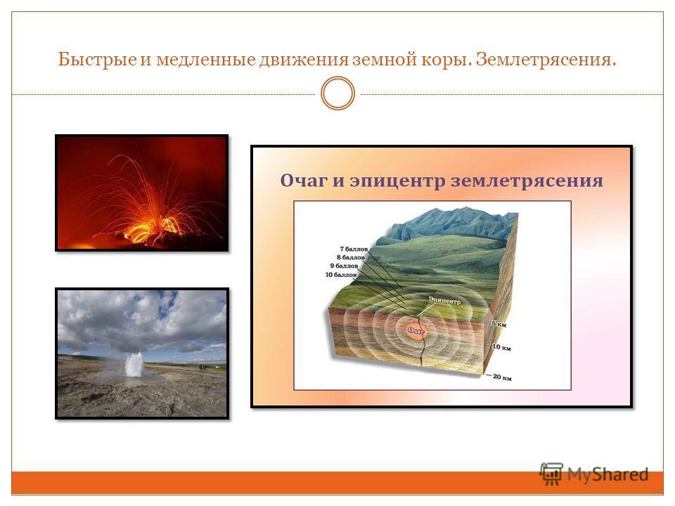 Быстрые и медленные движения земной коры. Землетрясения.