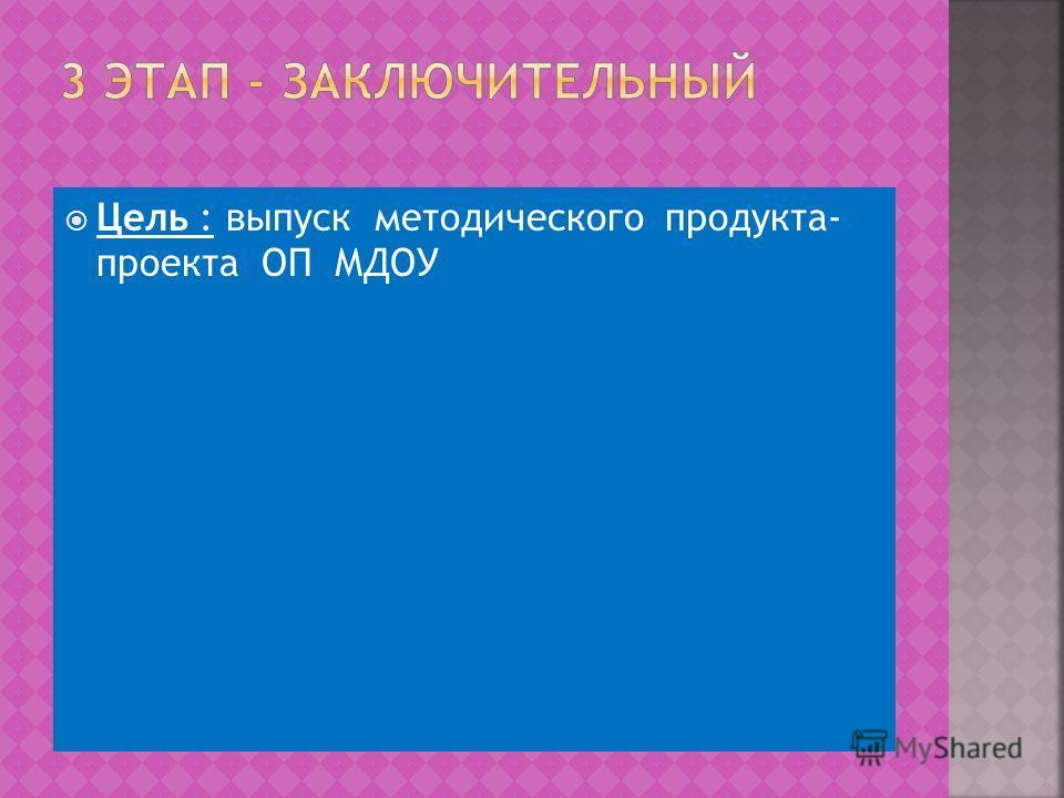 Цель : выпуск методического продукта- проекта ОП МДОУ