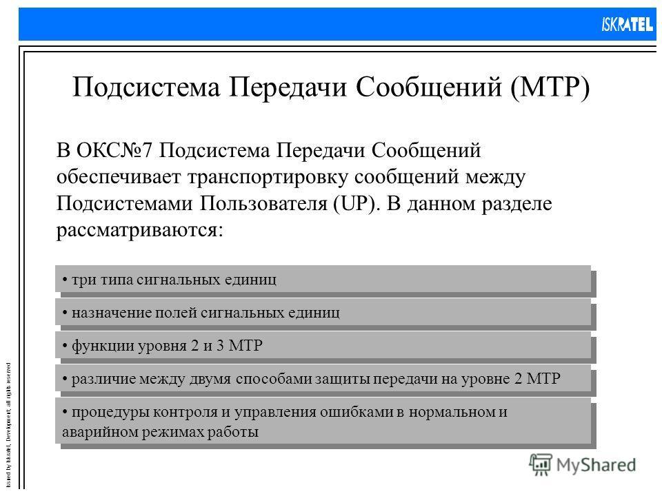 Issued by Iskratel, Development; all rights reserved Подсистема Передачи Сообщений (MTP) В ОКС7 Подсистема Передачи Сообщений обеспечивает транспортировку сообщений между Подсистемами Пользователя (UP). В данном разделе рассматриваются: три типа сигн