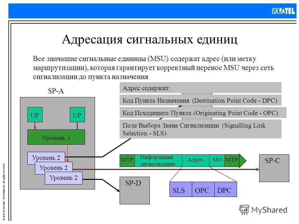 Issued by Iskratel, Development; all rights reserved Адресация сигнальных единиц Все значащие сигнальные единицы (MSU) содержат адрес (или метку маршрутизации), которая гарантирует корректный перенос MSU через сеть сигнализации до пункта назначения S