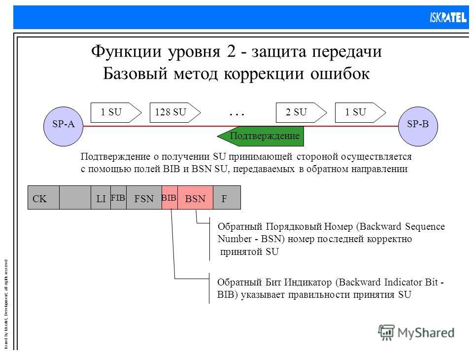 Issued by Iskratel, Development; all rights reserved Функции уровня 2 - защита передачи Базовый метод коррекции ошибок SP-ASP-B 1 SU2 SU128 SU1 SU... Подтверждение о получении SU принимающей стороной осуществляется с помощью полей BIB и BSN SU, перед