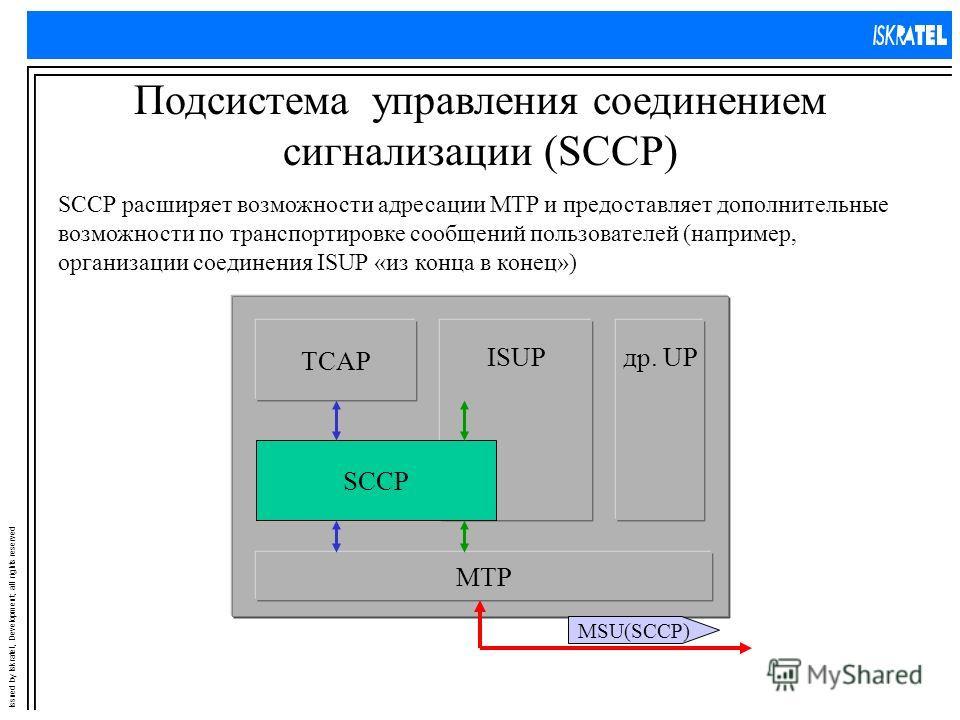 Issued by Iskratel, Development; all rights reserved Подсистема управления соединением сигнализации (SCCP) др. UP MTP ISUP TCAP SCCP SCCP расширяет возможности адресации MTP и предоставляет дополнительные возможности по транспортировке сообщений поль