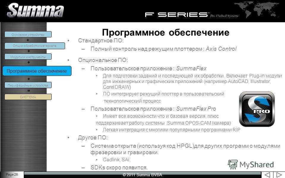 © 2011 Summa BVBA Page 26 Программное обеспечение Стандартное ПО: –Полный контроль над режущим плоттером : Axis Control Опциональное ПО: –Пользовательское приложение : SummaFlex Для подготовки заданий и последующей их обработки. Включает Plug-in моду