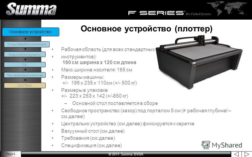 © 2011 Summa BVBA Page 4 Основное устройство (плоттер) Рабочая область (для всех стандартных инструментов): 160 см ширина x 120 см длина Макс.ширина носителя: 165 см Размеры машины: +/- 196 x 235 x 110см (+/- 500 кг) Размеры в упаковке +/- 223 x 253