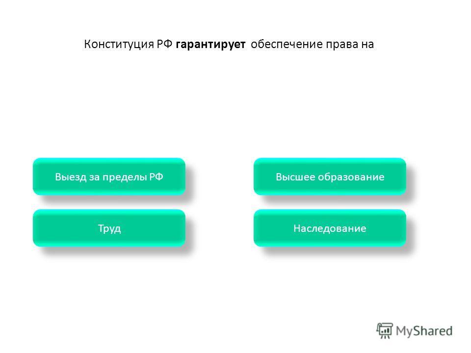 Конституция РФ гарантирует обеспечение права на Наследование Труд Высшее образование Выезд за пределы РФ
