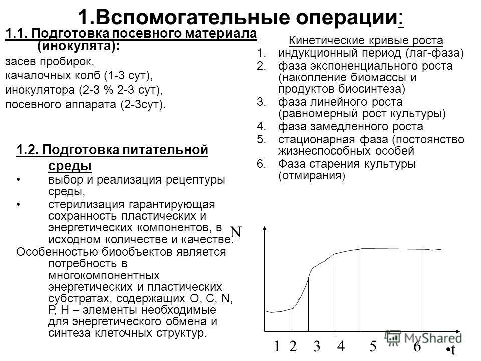 1.Вспомогательные операции: 1.1. Подготовка посевного материала (инокулята): засев пробирок, качалочных колб (1-3 сут), инокулятора (2-3 % 2-3 сут), посевного аппарата (2-3сут). Кинетические кривые роста 1.индукционный период (лаг-фаза) 2.фаза экспон