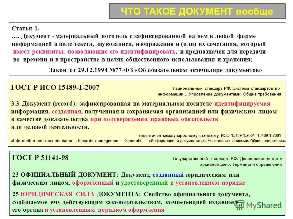 Статья 1. …. Документ - материальный носитель с зафиксированной на нем в любой форме информацией в виде текста, звукозаписи, изображения и (или) их сочетания, который имеет реквизиты, позволяющие его идентифицировать, и предназначен для передачи во в