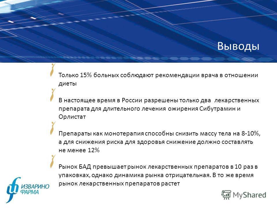 Выводы Только 15% больных соблюдают рекомендации врача в отношении диеты В настоящее время в России разрешены только два лекарственных препарата для длительного лечения ожирения Сибутрамин и Орлистат Препараты как монотерапия способны снизить массу т
