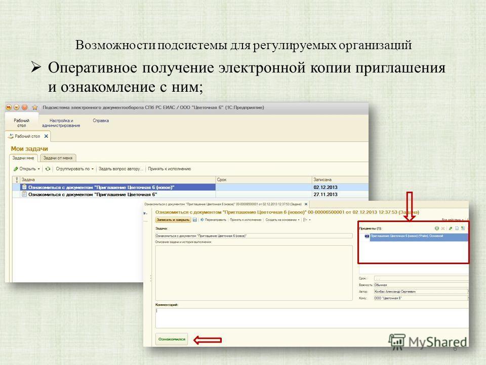 Возможности подсистемы для регулируемых организаций Оперативное получение электронной копии приглашения и ознакомление с ним; 6