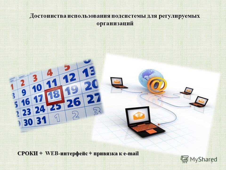 Достоинства использования подсистемы для регулируемых организаций 9 СРОКИ + интерфейс + привязка к e-mail СРОКИ + WEB-интерфейс + привязка к e-mail
