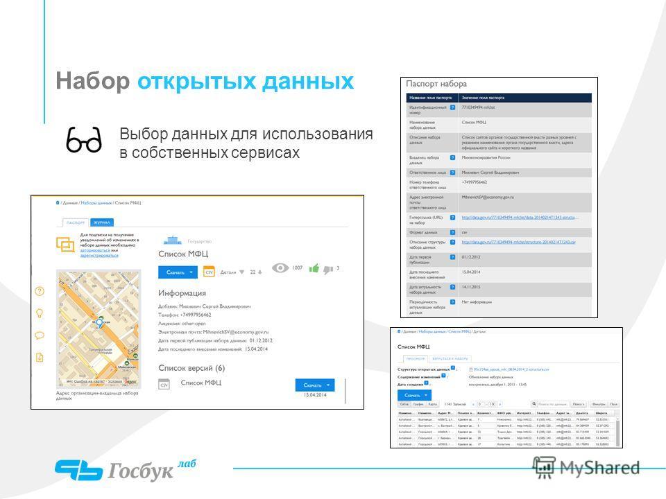 Набор открытых данных Выбор данных для использования в собственных сервисах