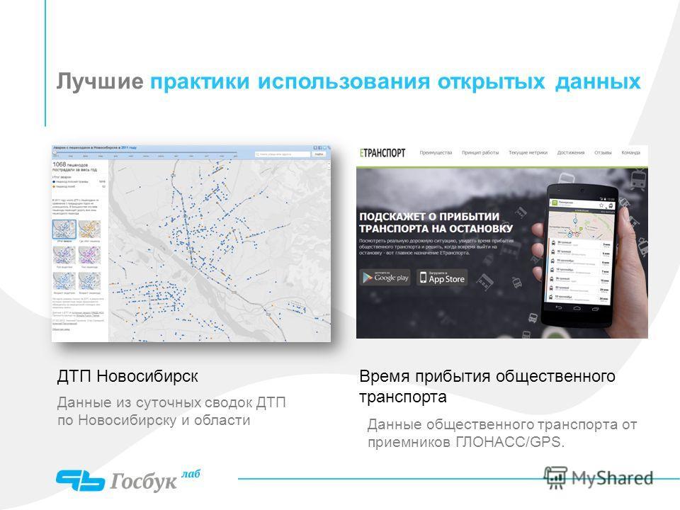 Лучшие практики использования открытых данных ДТП Новосибирск Данные из суточных сводок ДТП по Новосибирску и области Время прибытия общественного транспорта Данные общественного транспорта от приемников ГЛОНАСС/GPS.