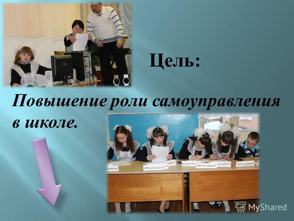Цель : Повышение роли самоуправления в школе.