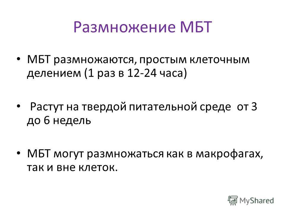 Размножение МБТ МБТ размножаются, простым клеточным делением (1 раз в 12-24 часа) Растут на твердой питательной среде от 3 до 6 недель МБТ могут размножаться как в макрофагах, так и вне клеток.