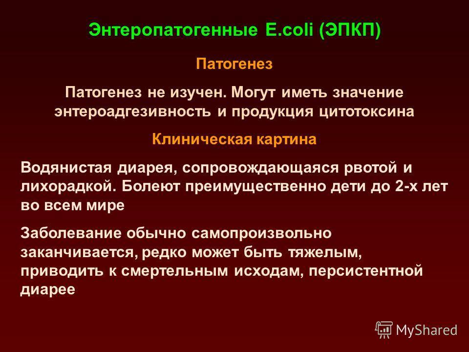 Энтеротоксигенные E.coli (ЭТКП) Патогенез Продукция термолабильных (ЛТ) и/или термостабильных (СТ) энтеротоксинов, которые вызывают повышение секреции жидкости и электролитов – секреторная диарея Клиническая характеристика Водянистая диарея преимущес