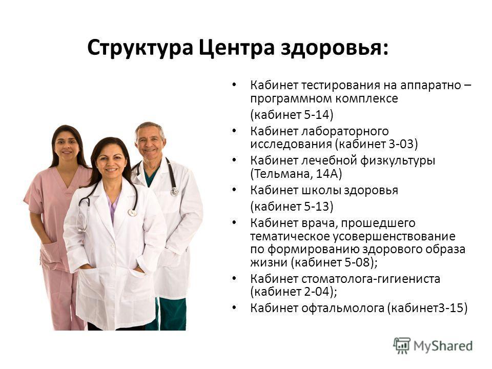 Структура Центра здоровья: Кабинет тестирования на аппаратно – программном комплексе (кабинет 5-14) Кабинет лабораторного исследования (кабинет 3-03) Кабинет лечебной физкультуры (Тельмана, 14А) Кабинет школы здоровья (кабинет 5-13) Кабинет врача, пр