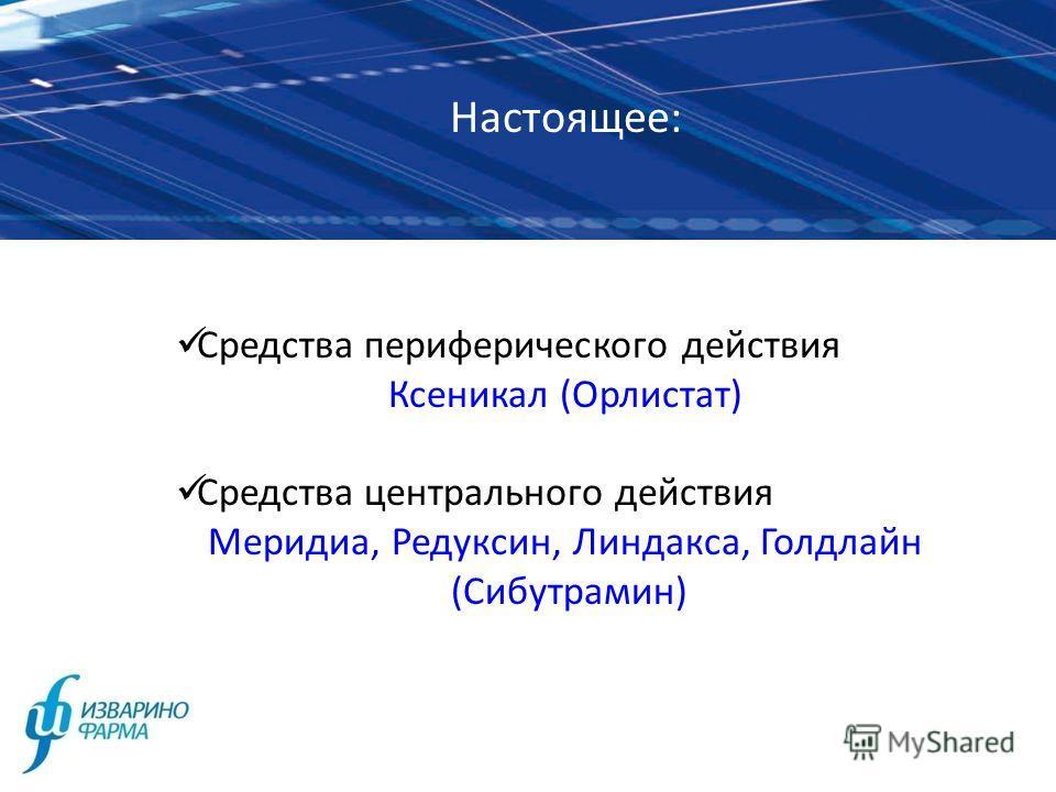Настоящее: Средства периферического действия Ксеникал (Орлистат) Средства центрального действия Меридиа, Редуксин, Линдакса, Голдлайн (Сибутрамин)