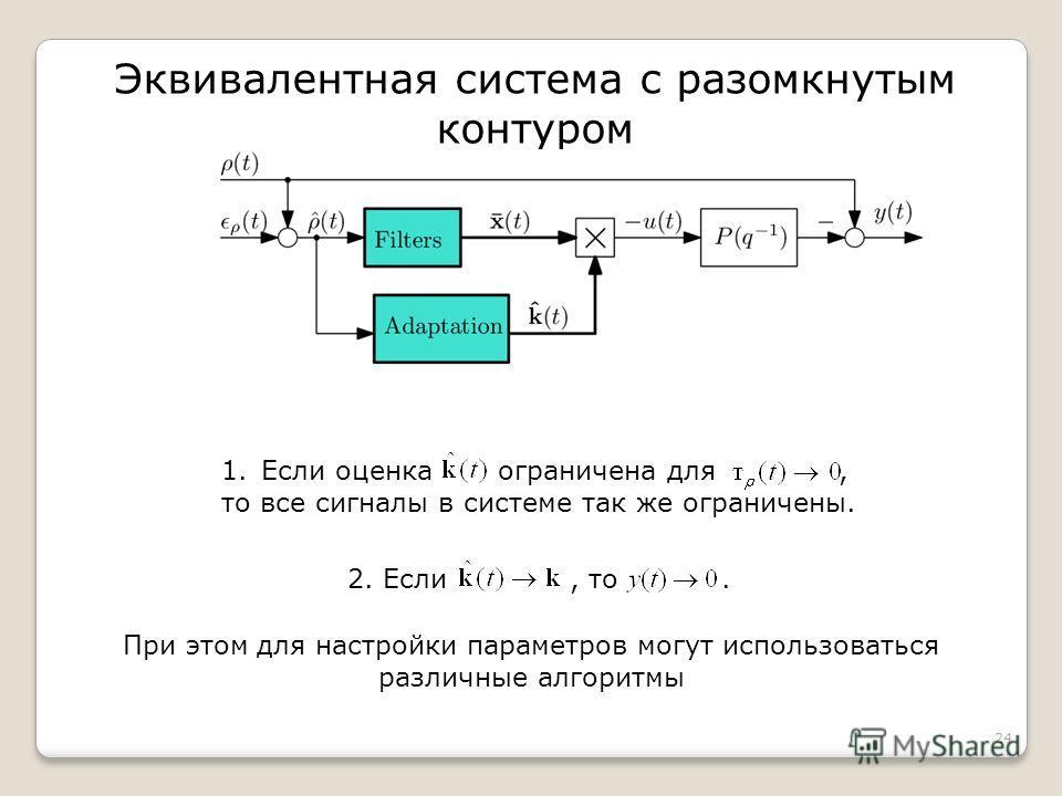 Эквивалентная система с разомкнутым контуром 24 2. Если, то. При этом для настройки параметров могут использоваться различные алгоритмы 1.Если оценка ограничена для, то все сигналы в системе так же ограничены.