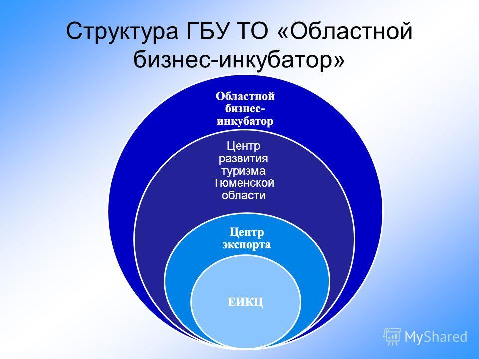 Структура ГБУ ТО «Областной бизнес-инкубатор» Центр развития туризма Тюменской области