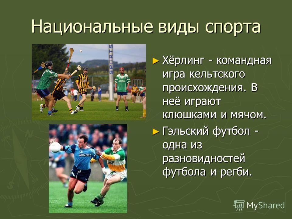 Национальные виды спорта Хёрлинг - командная игра кельтского происхождения. В неё играют клюшками и мячом. Гэльский футбол - одна из разновидностей футбола и регби.