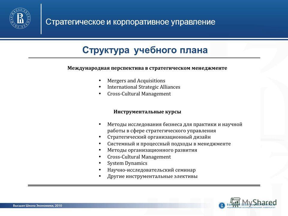 Стратегическое и корпоративное управление Структура учебного плана
