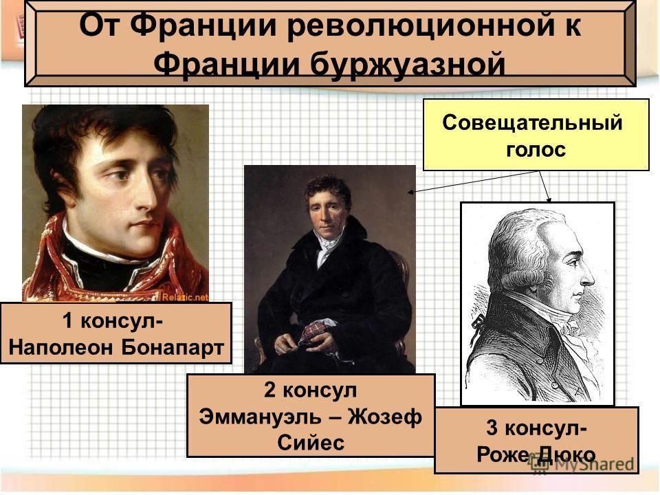 1 консул- Наполеон Бонапарт 2 консул Эммануэль – Жозеф Сийес 3 консул- Роже Дюко От Франции революционной к Франции буржуазной Совещательный голос