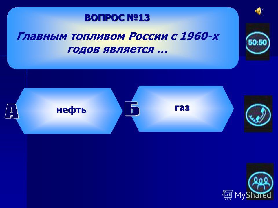 ВОПРОС 13 Главным топливом России с 1960-х годов является … нефть газ уголь дрова