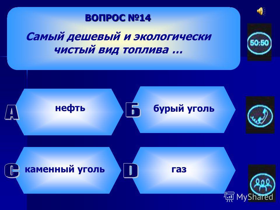 ВОПРОС 13 Главным топливом России с 1960-х годов является … нефть газ