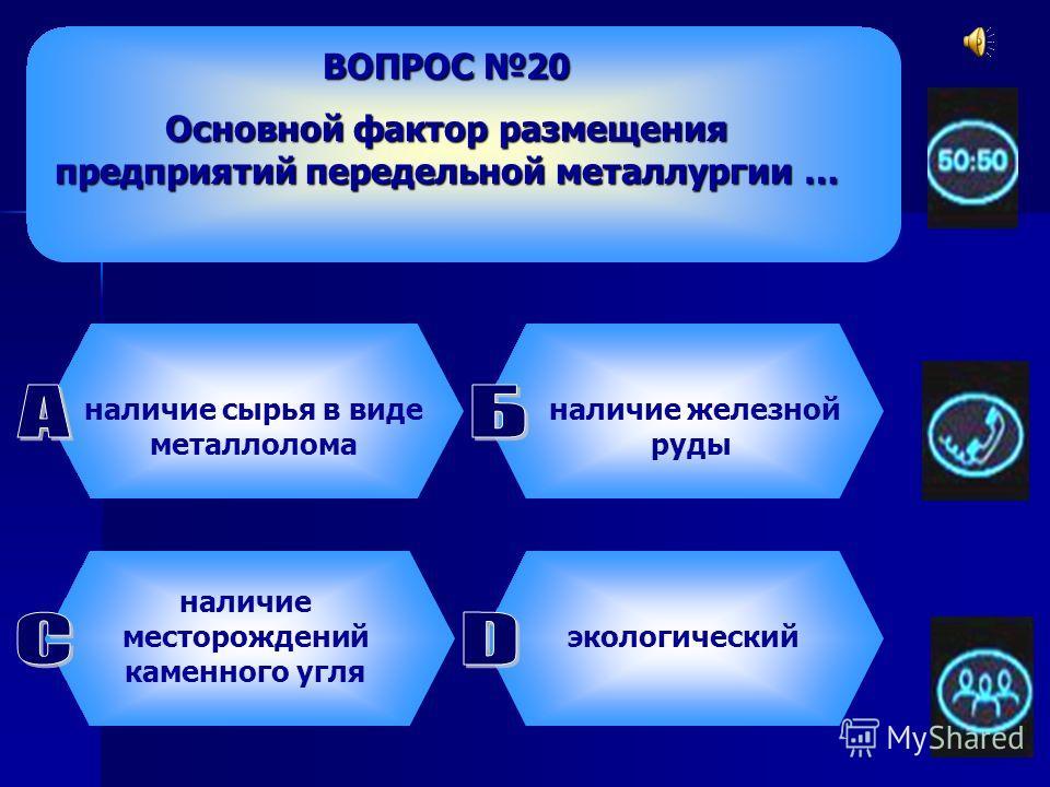 ВОПРОС 19 Самым крупным предприятием металлургической отрасли являются … комбинат полного цикла прокатный завод