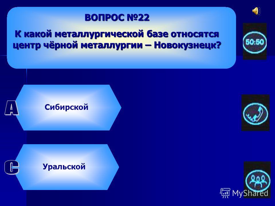 ВОПРОС 22 К какой металлургической базе относятся центр чёрной металлургии – Новокузнецк? Сибирской Южной УральскойЦентральной