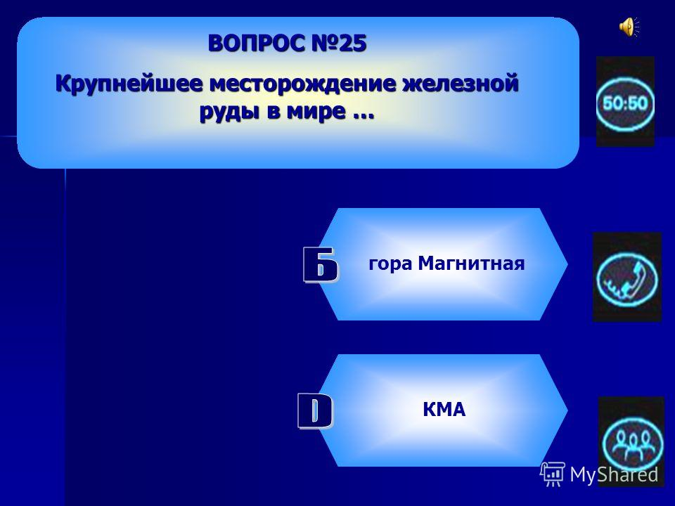 ВОПРОС 25 Крупнейшее месторождение железной руды в мире … гора МагнитнаяКачканарское КМА Костомукшское