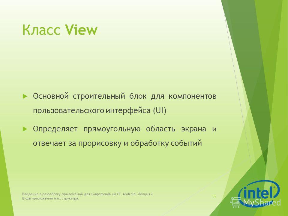 Класс View Основной строительный блок для компонентов пользовательского интерфейса (UI) Определяет прямоугольную область экрана и отвечает за прорисовку и обработку событий Введение в разработку приложений для смартфонов на ОС Android. Лекция 2. Виды