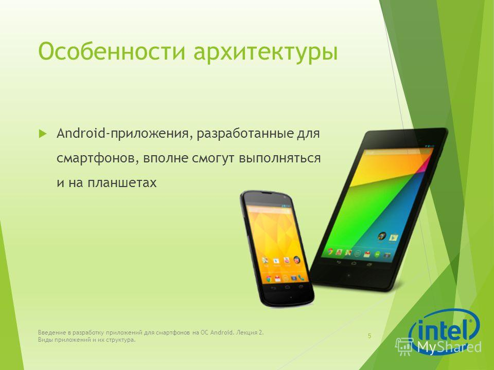 Особенности архитектуры Android-приложения, разработанные для смартфонов, вполне смогут выполняться и на планшетах Введение в разработку приложений для смартфонов на ОС Android. Лекция 2. Виды приложений и их структура. 5